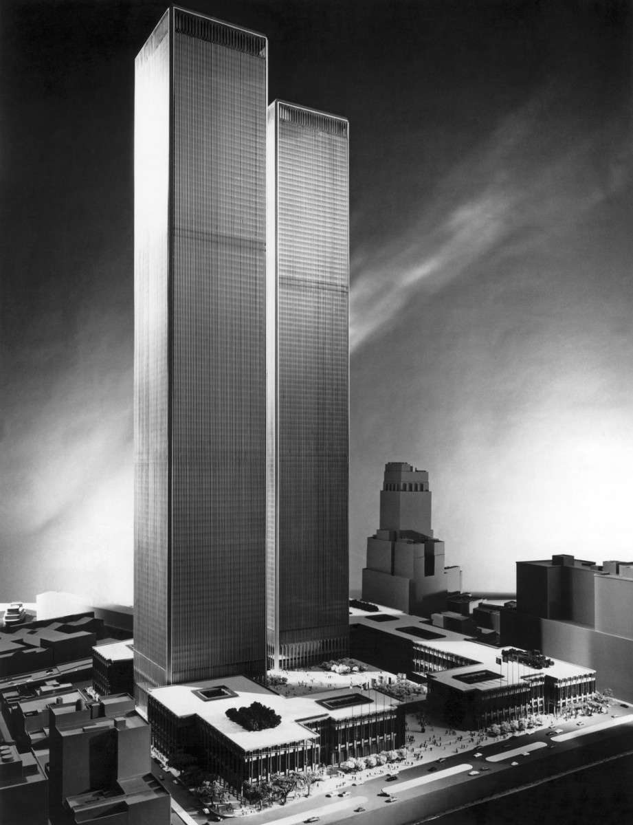 An architect's model of the proposed World Trade Center, c. 1965.