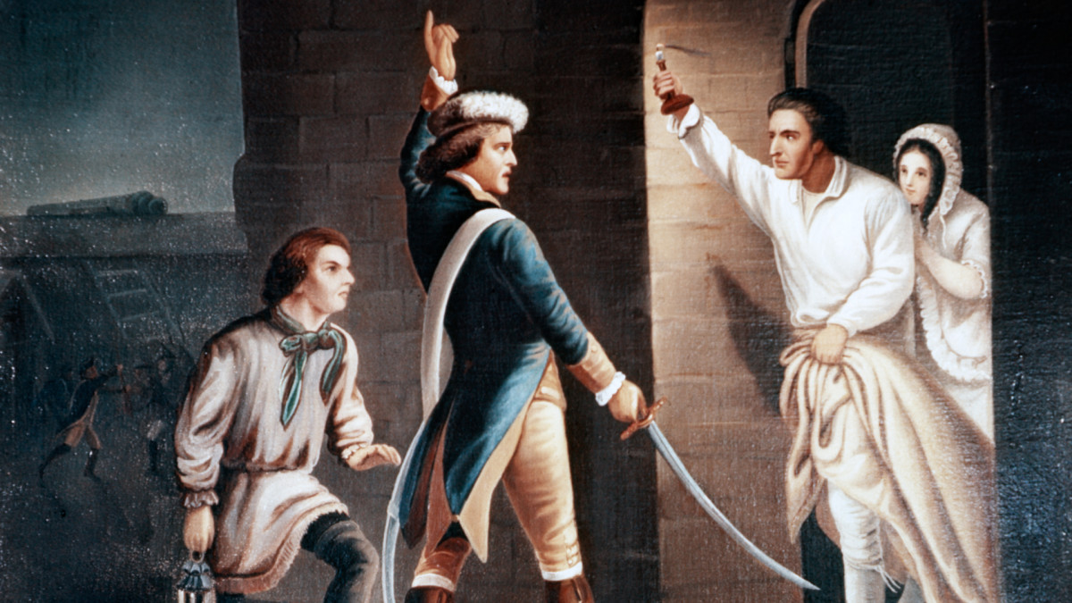 Ethan Allen and the Green Mountain Boys demand surrender of British forces during the Capture of Fort Ticonderoga.