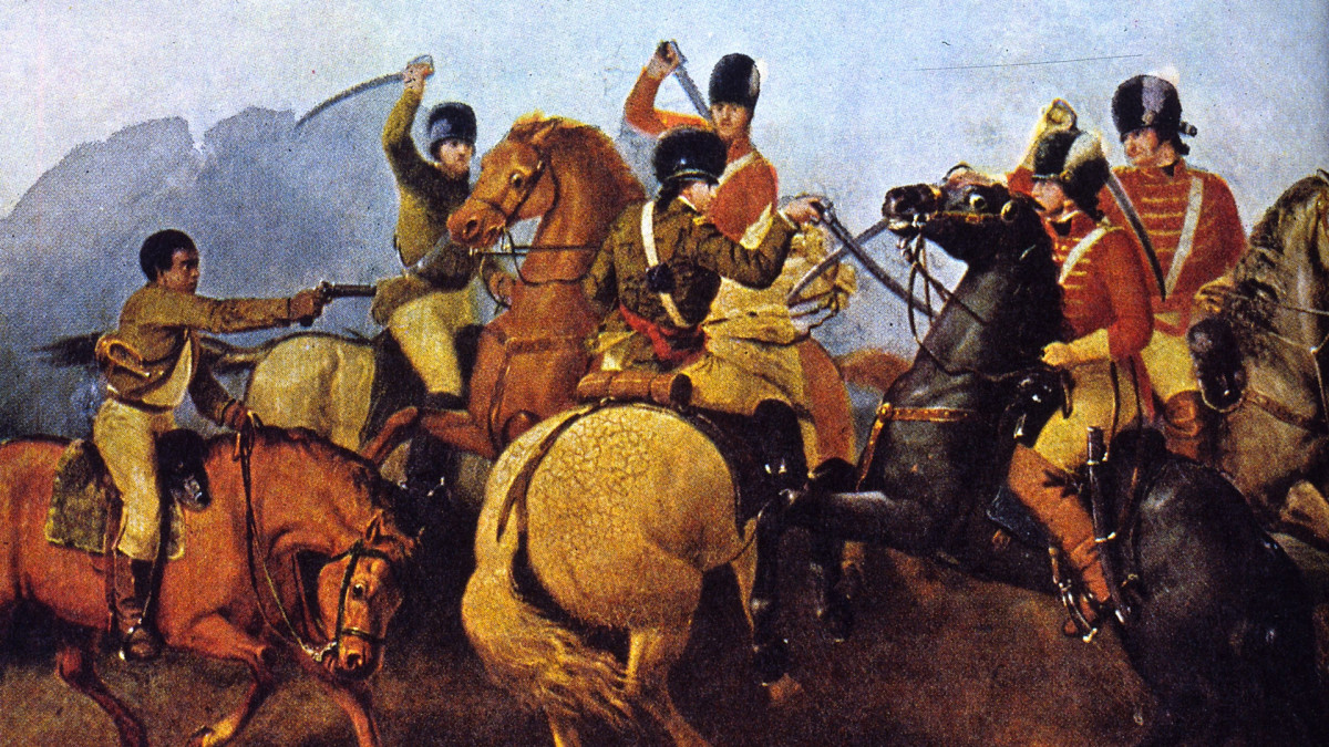 Colonel William Washington fighting in hand-to-hand combat with British Lieutenant Colonel Banastre Tarleton along the Green River Road during the Battle of Cowpens. Colonel Washington's Bugler (left) is shooting one of Tarleton's officers.