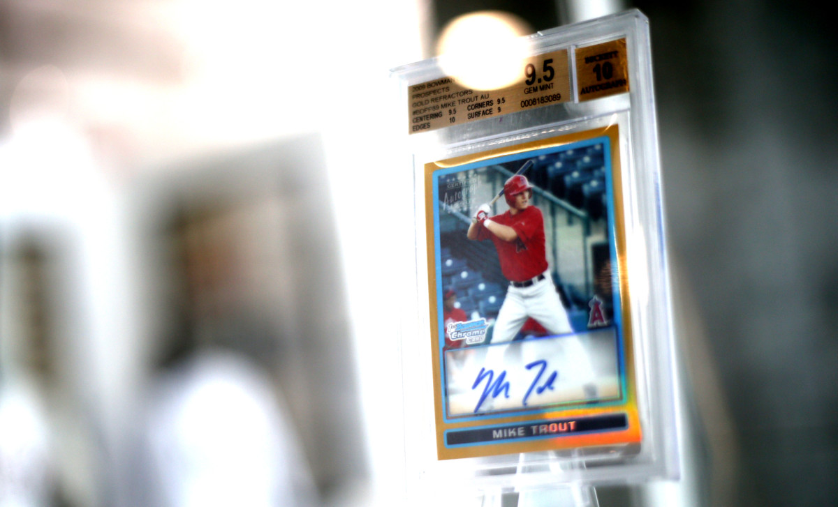 This unique 2009 Mike Trout rookie card by Topps was autographed by the Los Angeles Angels' outfielder.