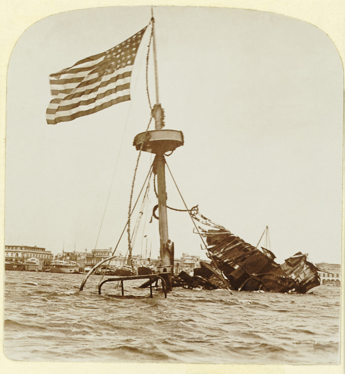 USS Maine wreckage, February 15, 1898 leading to the Spanish-American War