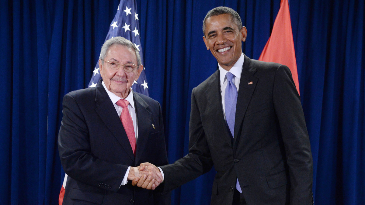 U.S. President Barack Obama and President Raul Castro of Cuba shake hands during a bilateral meeting at the United Nations Headquarters on September 29, 2015 in New York City.