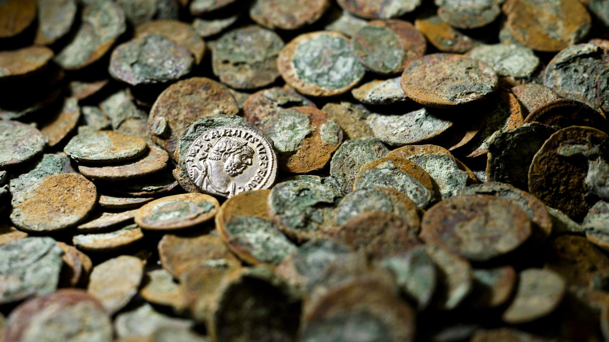 Some of the thousands of coins from the Iron Age found in Somerset, England.