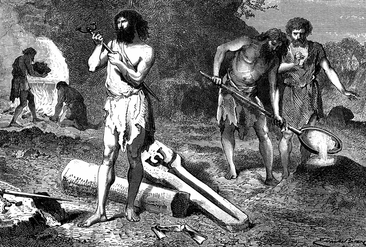 Artist's reconstruction of casting weapons in the Iron Age.