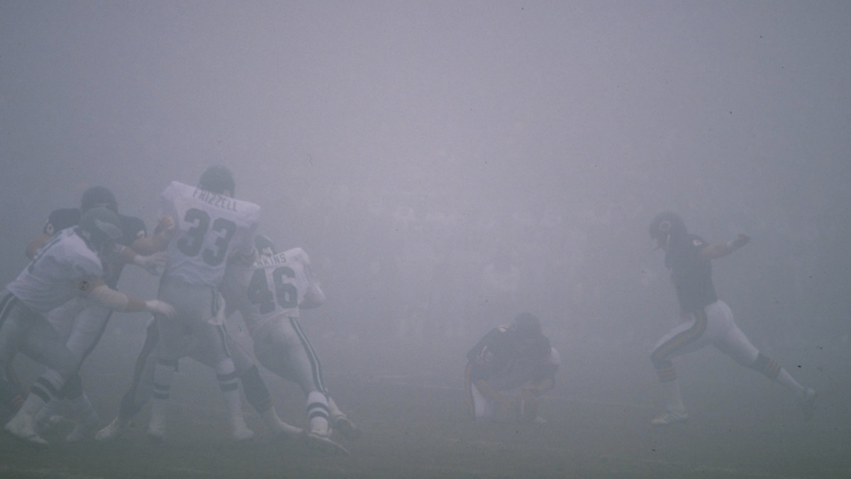 """""""I haven't even driven a car in anything like that before,"""" said Bears kicker Kevin Butler (right) following the """"Fog Bowl."""""""