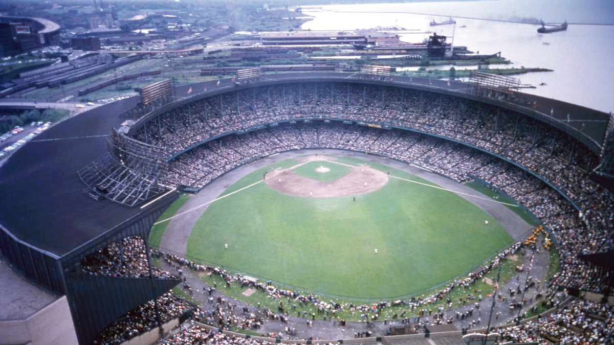 An aerial view of cavernous Municipal Stadium in 1956.
