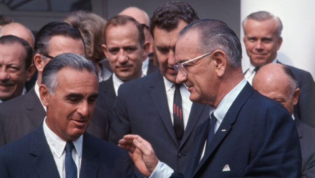 Lyndon Johnson Twists Senator Ribicoff's Arm