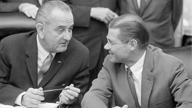 Lyndon Johnson and Robert McNamara Plan Airstrikes in Vietnam