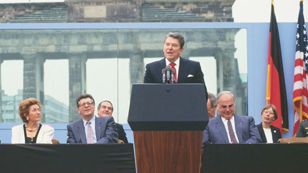 Reagan on Historic Visit to Berlin Wall